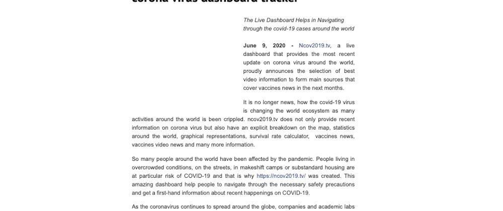 digital journal Introducing NCOV2019.TV
